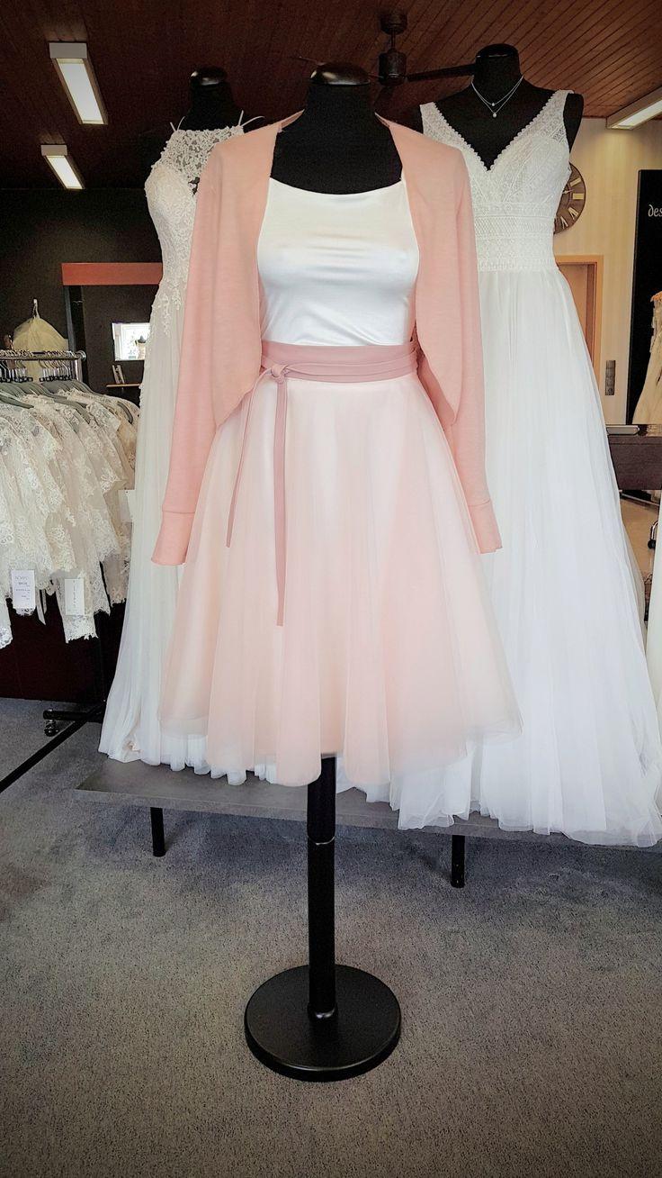 Zweiteiliges Standesamt Kleid Tüllrock & Jerseytop mit