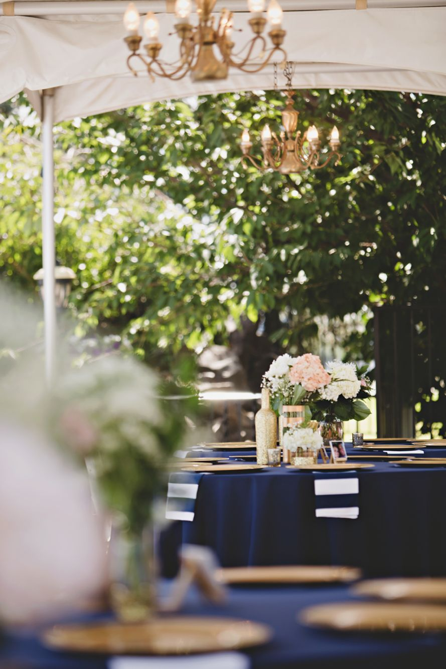Navy and white striped wedding