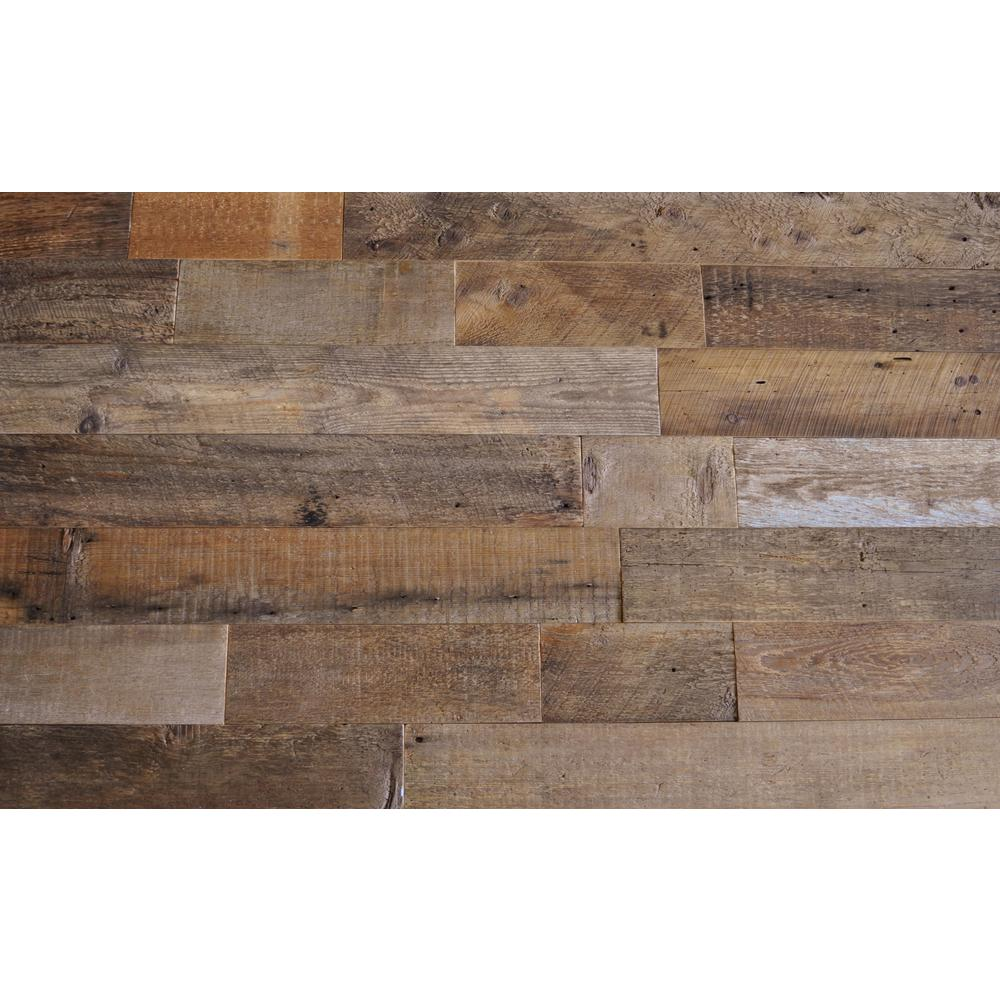 Reclaimed Wood Accent Wall Same Length Boards: EAST COAST RUSTIC Reclaimed Barn Wood Brown Sealed 3/8 In