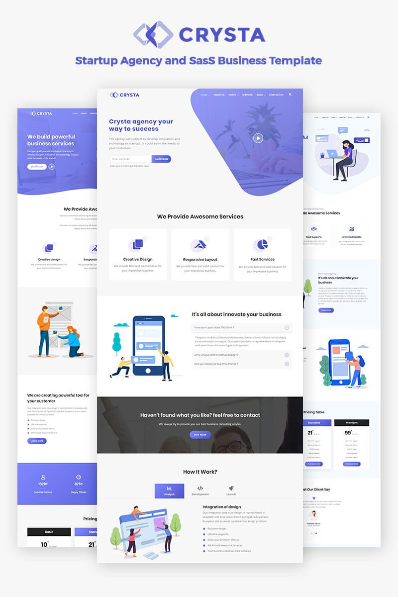 Crysta  Startup Agency and SasS Business Website Template 76808 is part of Business website templates, Web design quotes, Web design, Web design websites, Web template design, Web design tips - Crysta is a creative multipurpose HTML5 template base on SasS and Bootstrap 4 x  There are included unique homepages and different color options, search