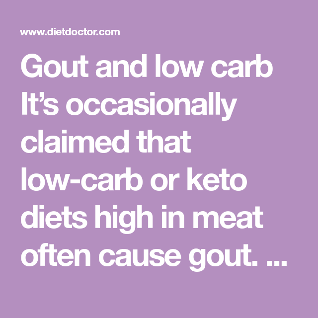 why do low carb diets cause gout