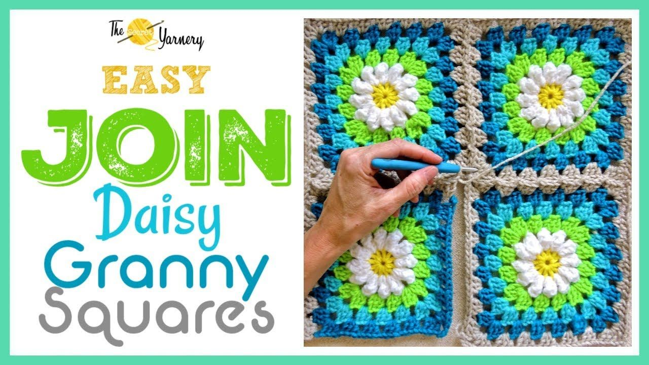 Crochet How To Join Your Daisy Granny Squares Easy Join As You Go Method Youtube Granny Square Crochet Quilt Pattern Joining Granny Squares
