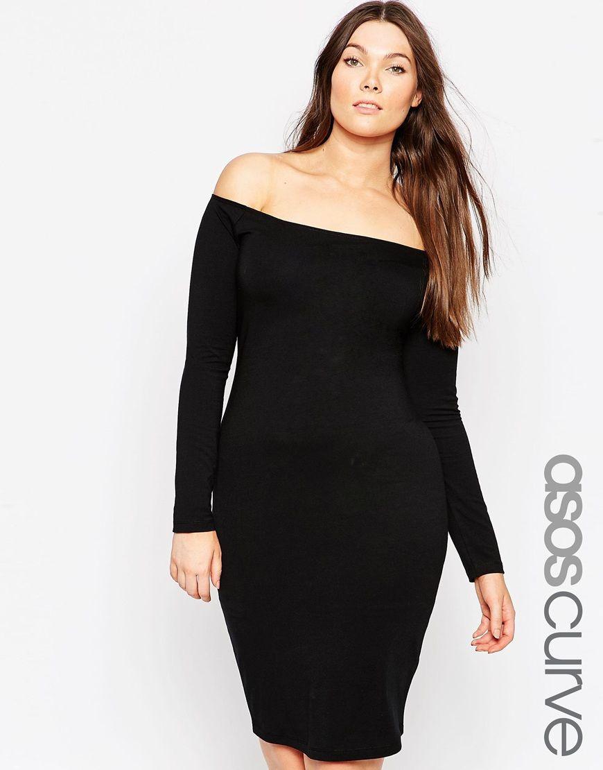 64ea4554b07 ASOS CURVE Bardot Body-Conscious Dress with Long Sleeve