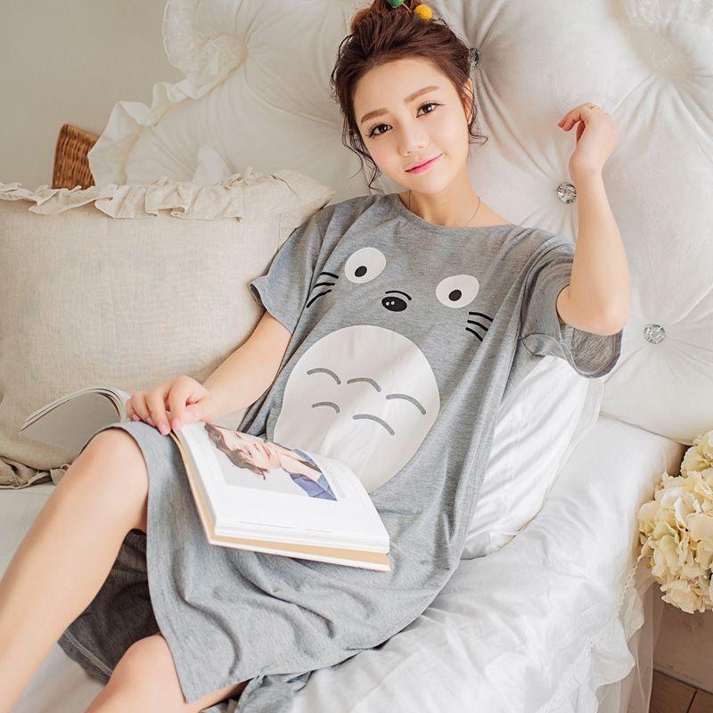 2017 New Summer Lady Long Nightgown Sleepshirts Cute Lovely Cartoon Animal Sleepwear  Short Sleeve Cotton Women Nightdress Pijama  Affiliate 446071f54