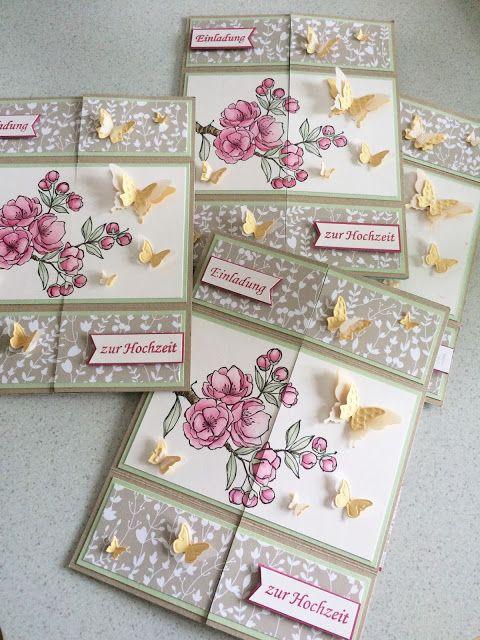 Stampin Up, Endloskarte, Neverending Card, Hochzeit, Einladung,  Schmetterlinge