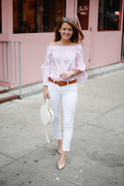 1f63005c138f5 Off The Shoulder · Ruffle Sleeve · Bahamas Cruise · White Pants · Pink And  White Stripes