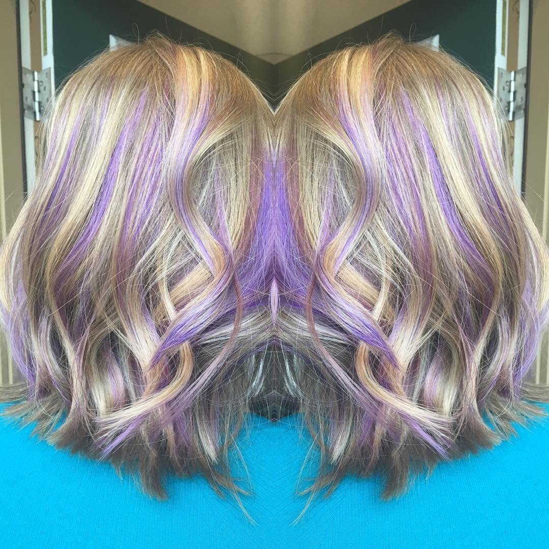 Blonde hair with purple highlights by taylor nogueira on ...