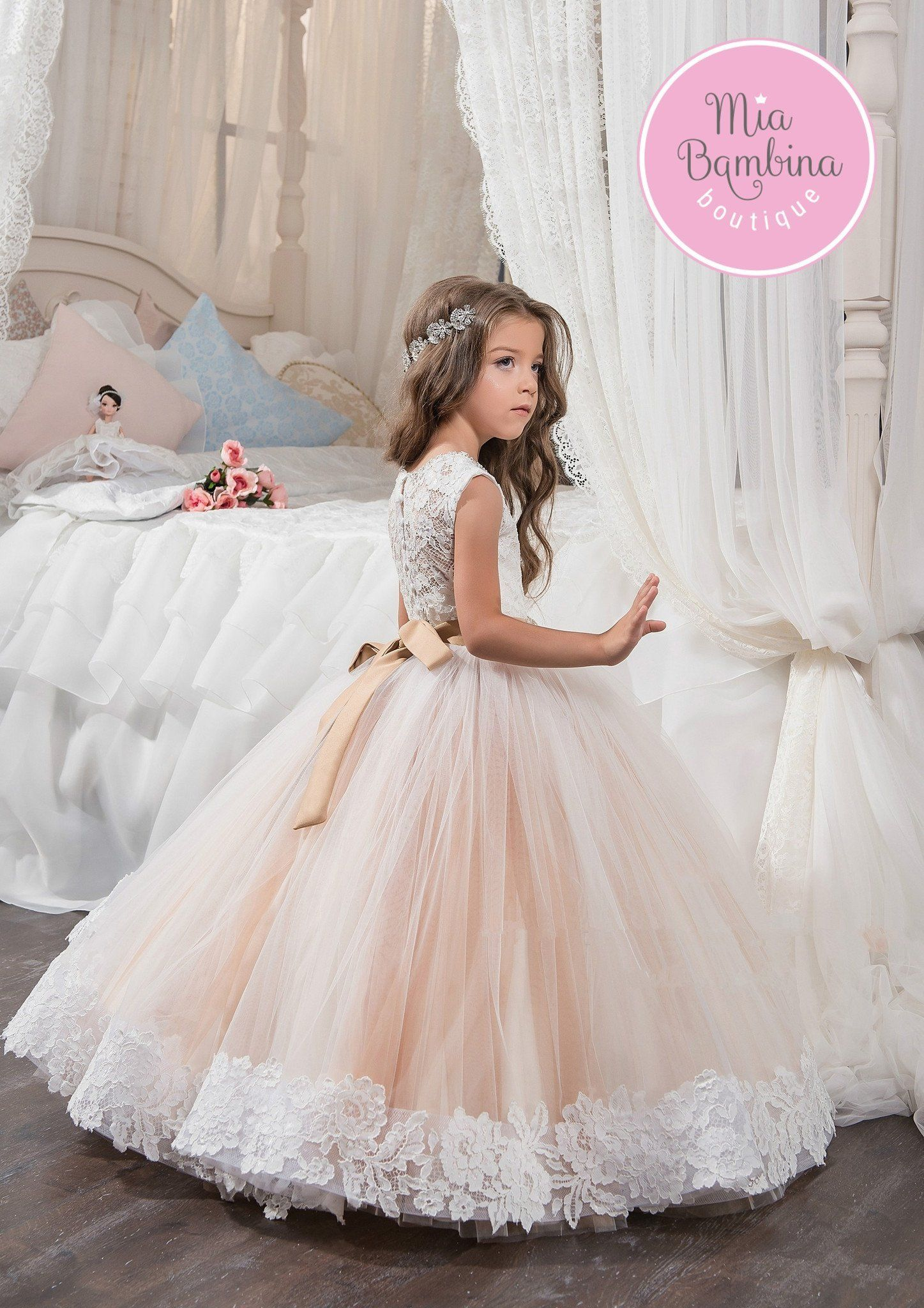 Girls wedding dress  Huntington  Flower girl dresses Girls dresses and Weddings