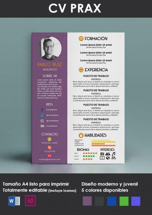 CV prax morado portada PSD \ AI Pinterest - personal website resume