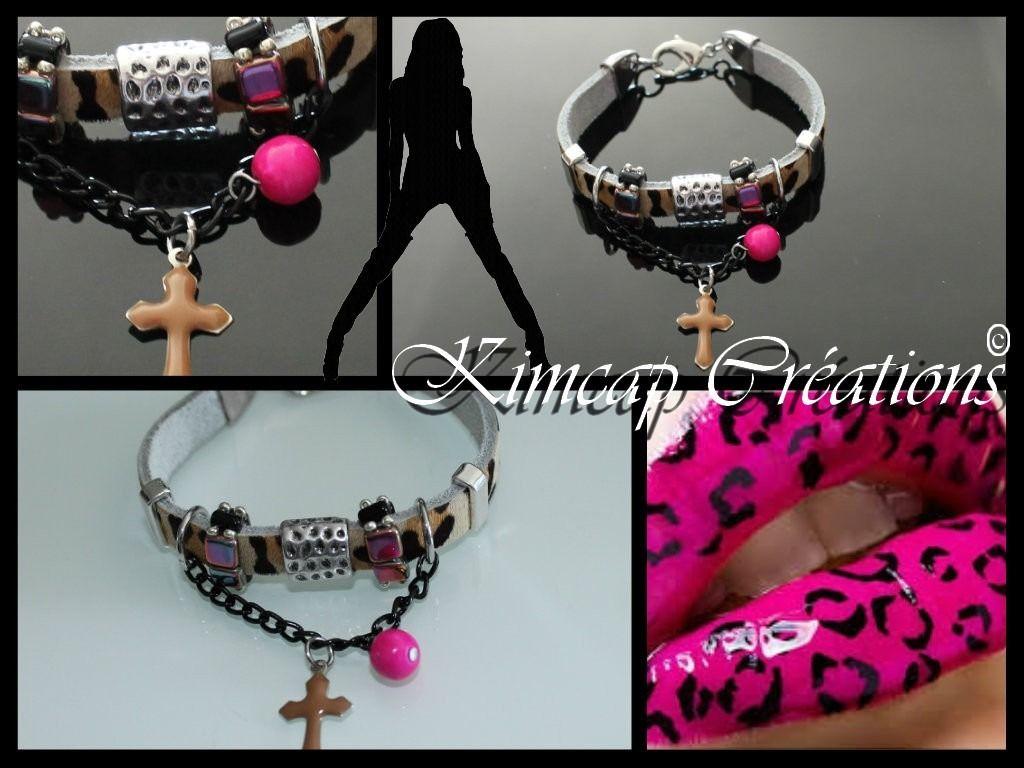 BRK070 Bracelet cuir léopard, perles fuchsia, breloque croix : Bracelet par kimcap-creations