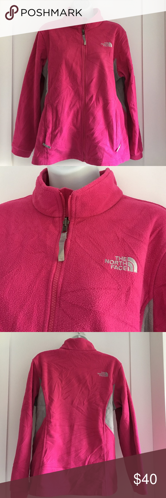 The North Face Fleece Jacket Preowned The North Face Fleece Jacket. Its a Girls size XL and it fits like a Women's M Petite. Please look at pictures for better reference. Happy shopping! North Face Jackets & Coats