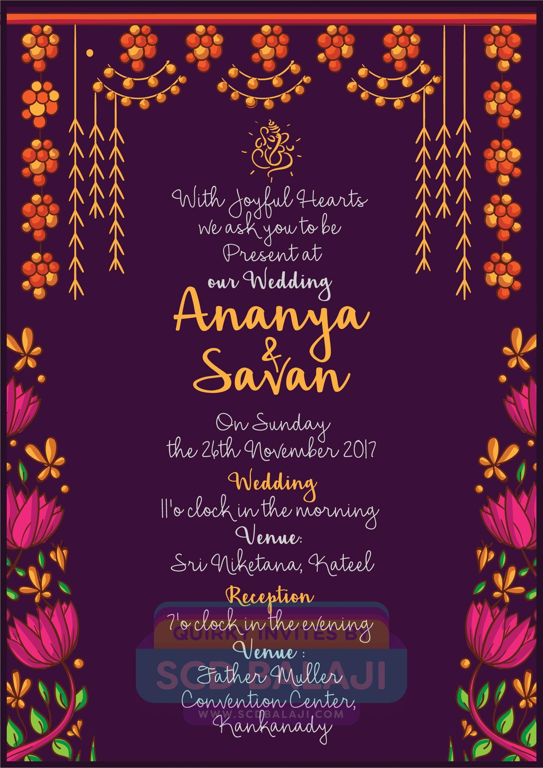 This creative Mangalore Wedding invitation features the illustration … | Indian  wedding invitation cards, Indian wedding invitations, Wedding invitation  card design