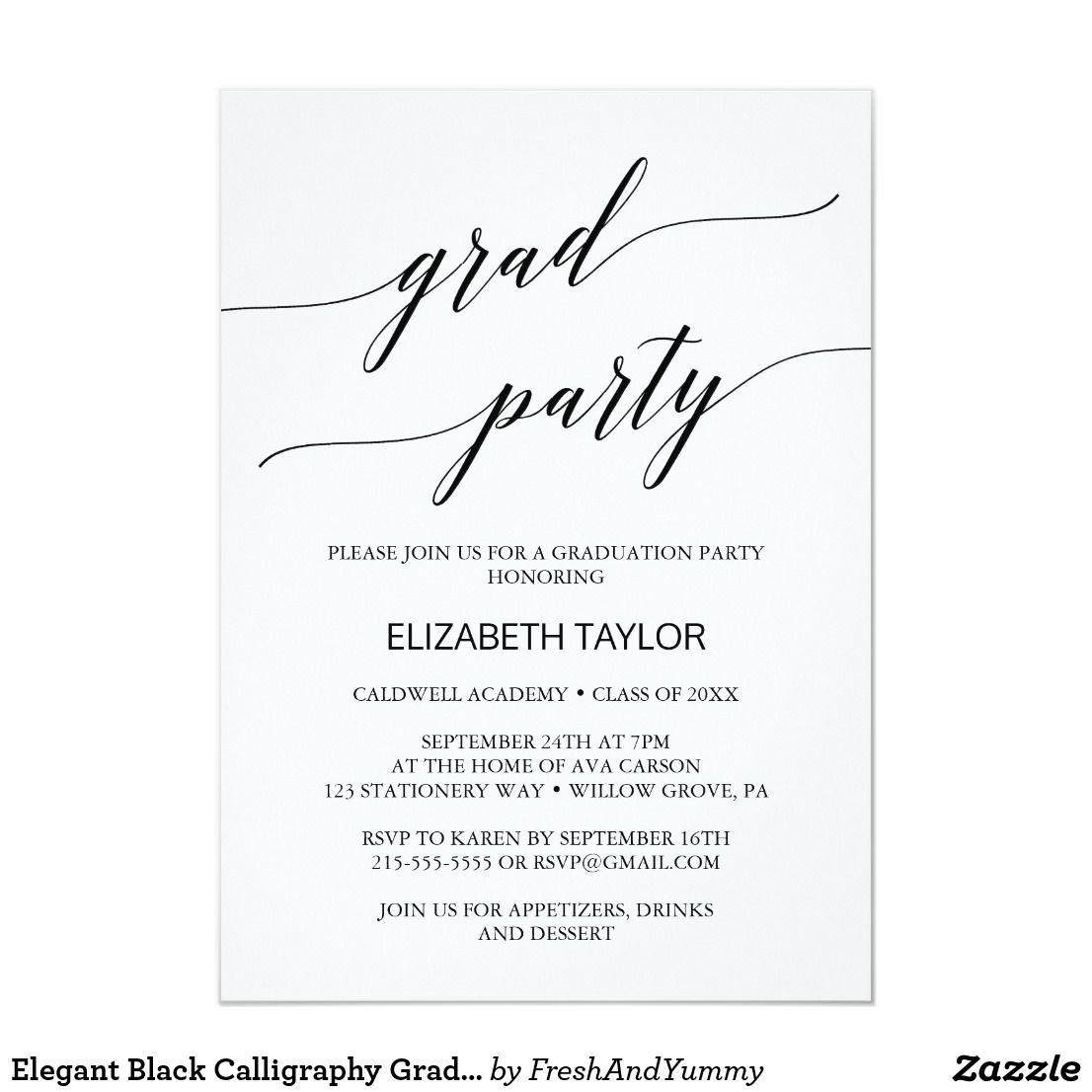 Elegant Black Calligraphy Graduation Party Invitation Zazzle Com Graduation Party Invitations Graduation Party Party Invitations