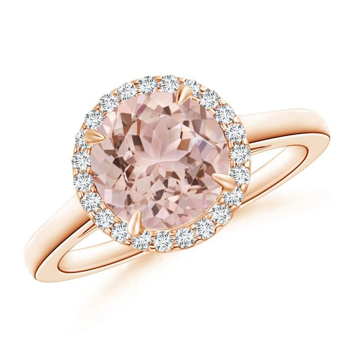 Angara Round Morganite Halo Ring with Cushion Milgrain Detailing