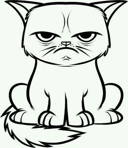 Grumpy Cat Cat Coloring Page Cat Drawing Cat Colors