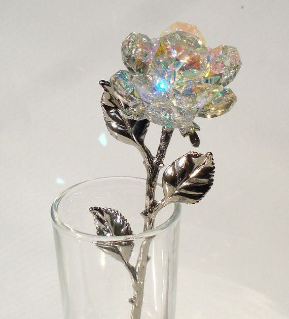 Crystal Rose made with Swarovski Crystal in glass vase  be58a25e4b