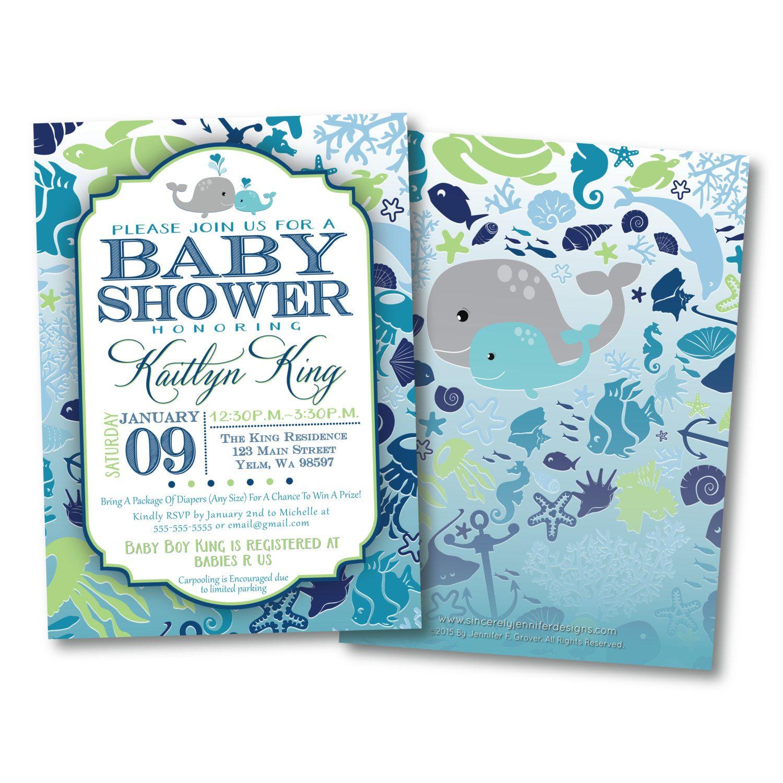 Under the Sea Baby Shower Invitation, DIY, Printable, Ocean, whale ...