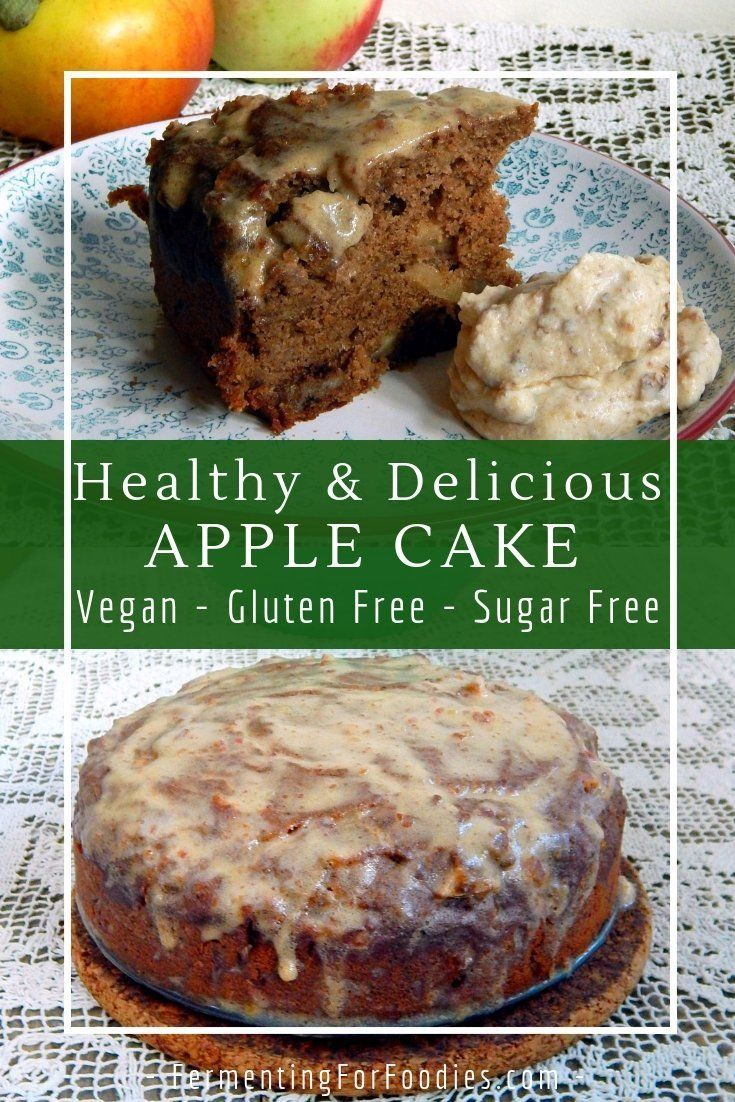 Healthy Apple Cake - Naturally Sugar Free - Fermenting for Foodies #sugarfree