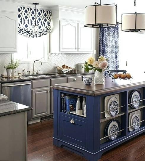 Blue Kitchen Curtains Walmart Blue And Grey Transitional ...