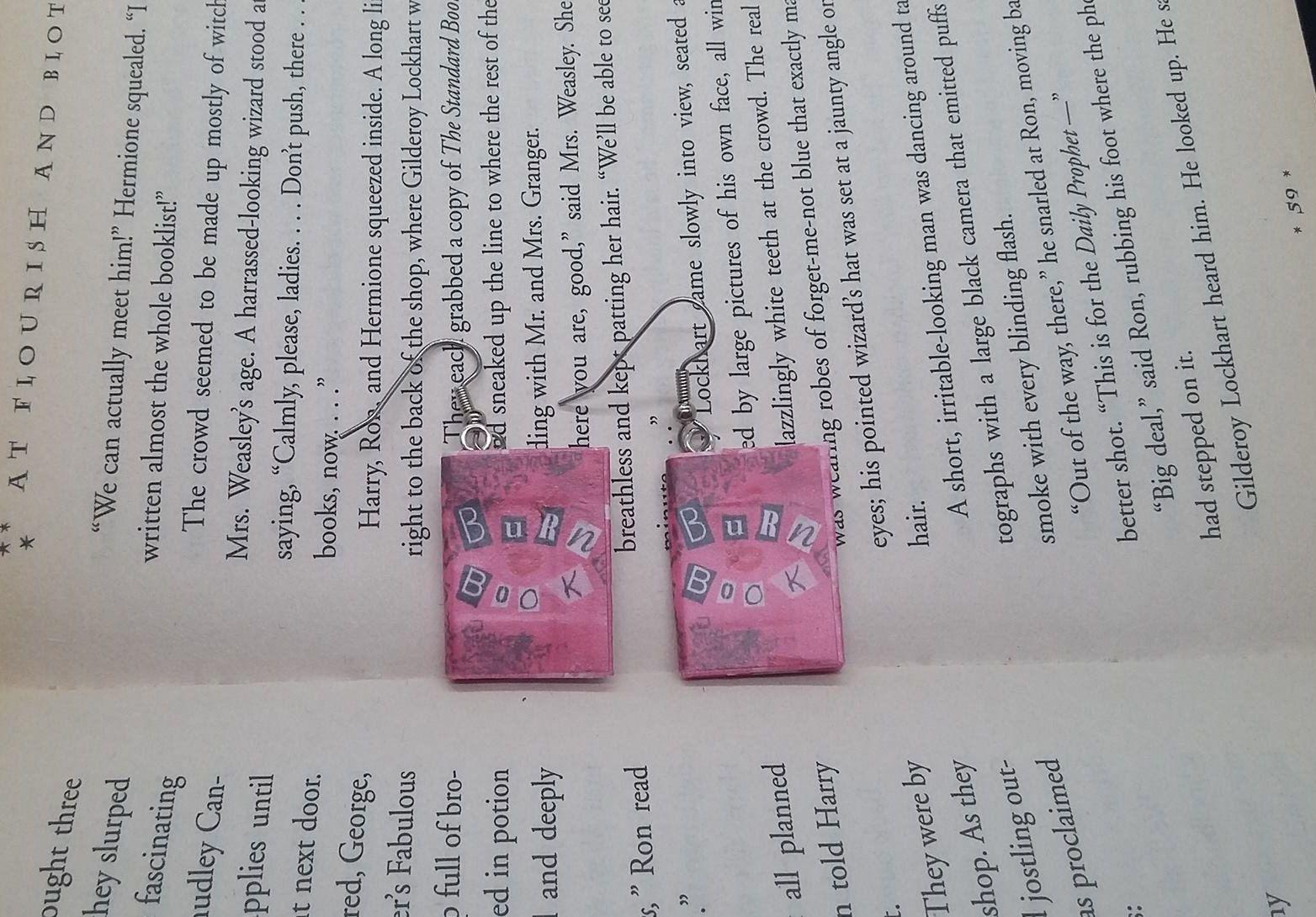 Book Earrings Burn Book Earrings Mean Girls Earrings Etsy Book Earrings Book Jewelry Book Pendant
