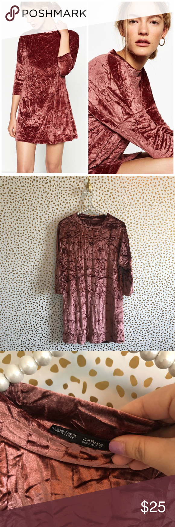 400ed53e Zara Crushed Velvet Mini Dress Excellent pre owned condition. Size small.  Rose pink red color. Crushed velvet. Blogger favorite. No trades!!