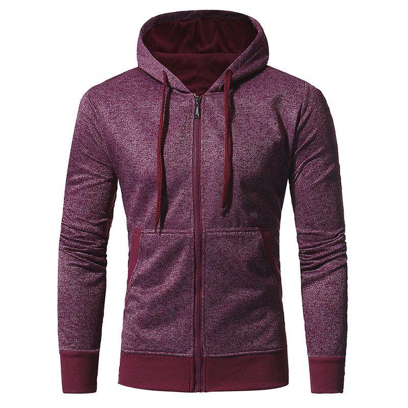 Wan-T Mens Solid Casual Hoodie Asymmetrical Pockets Slim Zipper Sweatshirt Jacket