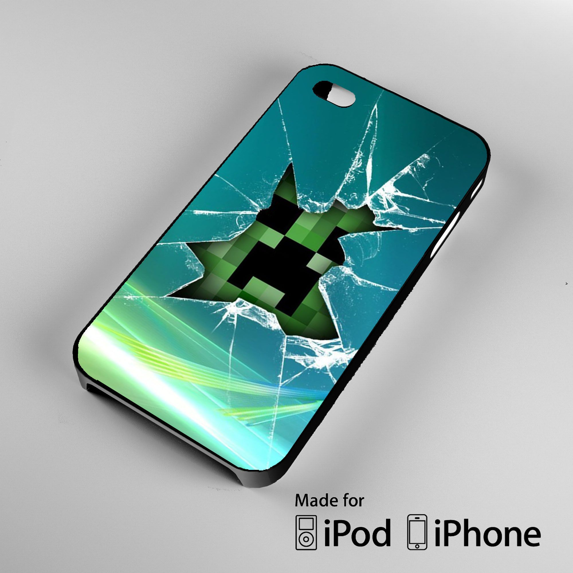 Minecraft Creeper Glass Broken A0100 iPhone 4S 5S 5C 6 6 Plus 6S 6S