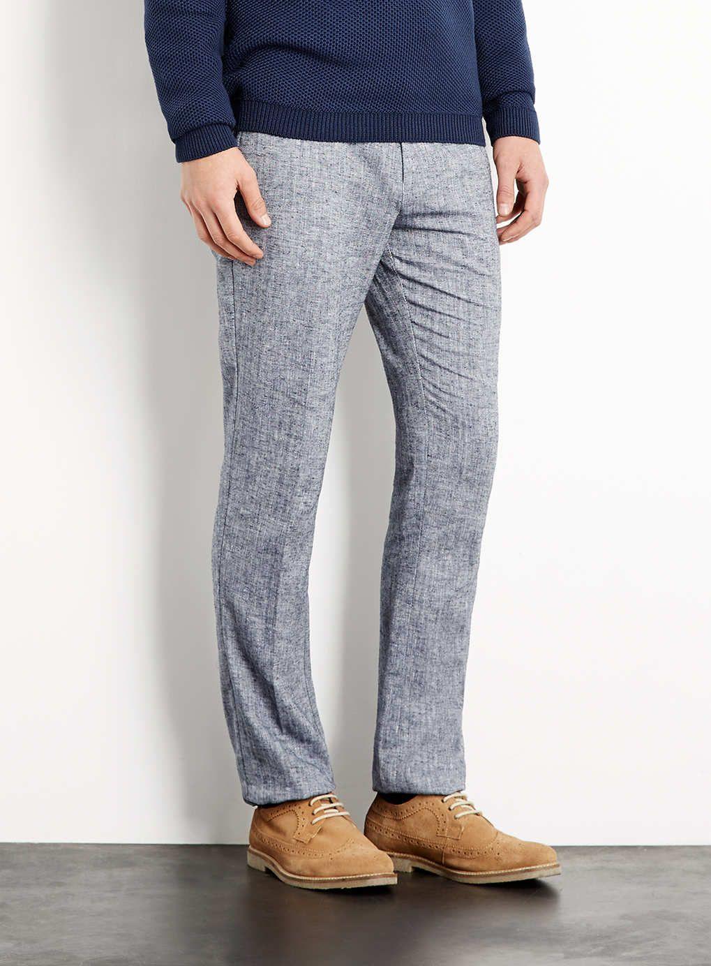 Navy Herringbone Trousers