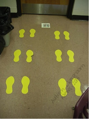 Blog post --pictures of visual supports used in the classroom and in real life.  Here's one we use in the classroom for elementary students, but I've used it with pieces of masking tape on the floor for older students if needed.  It tells students where to line up.  I always have said it is the simplest intervention I've ever seen—I put paper on the floor, and the students' behavior improves.  But it works every time.  Here they line up as buddies.