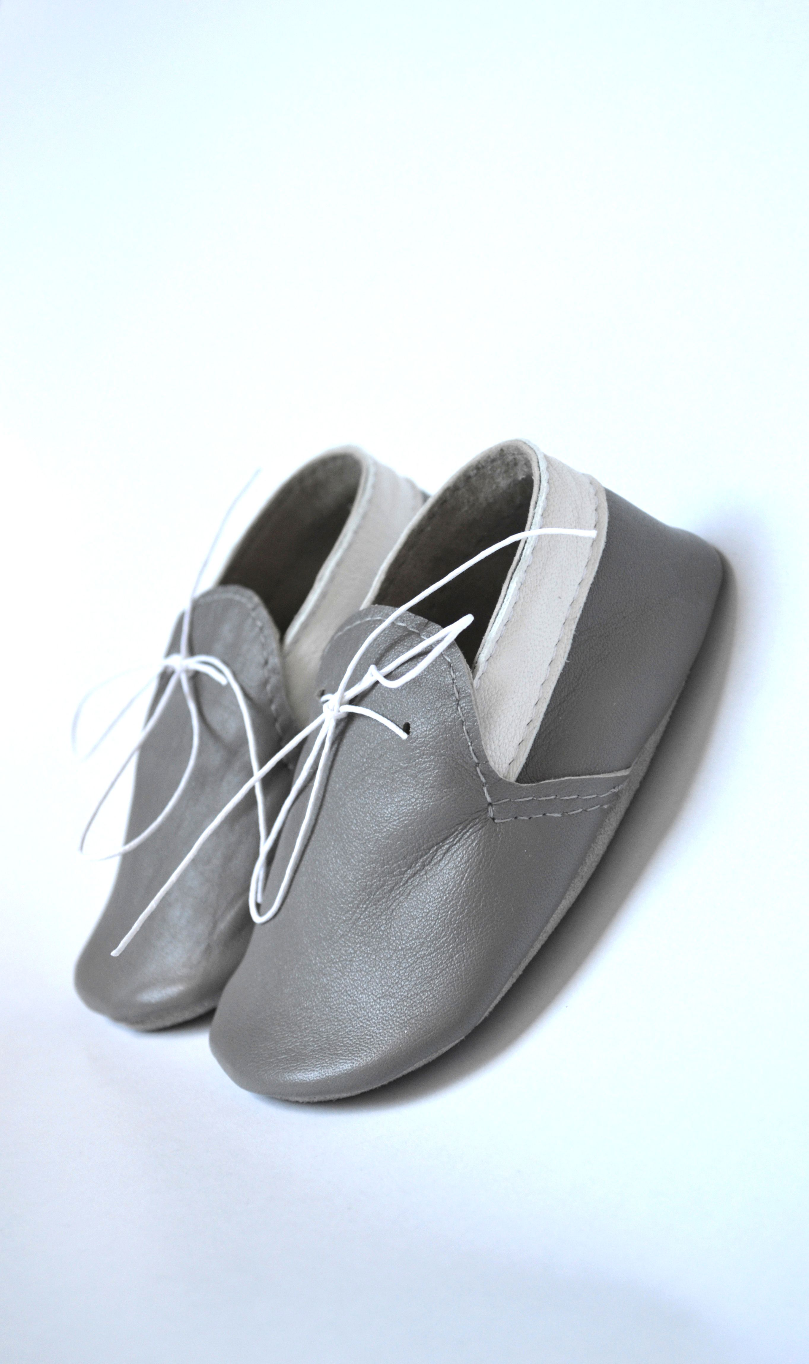 Handmade soft sole leather baby shoes Baby boy moccasins Grey