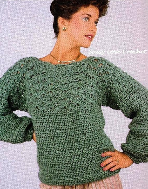Crochet Warm Sweater Pattern Oversized Womens Crochet Pattern Size