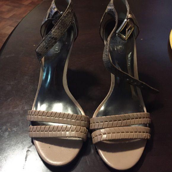 bf26e60315b1 Coach sandals Tan  Python  vachetta ankle strap. Heel is 4