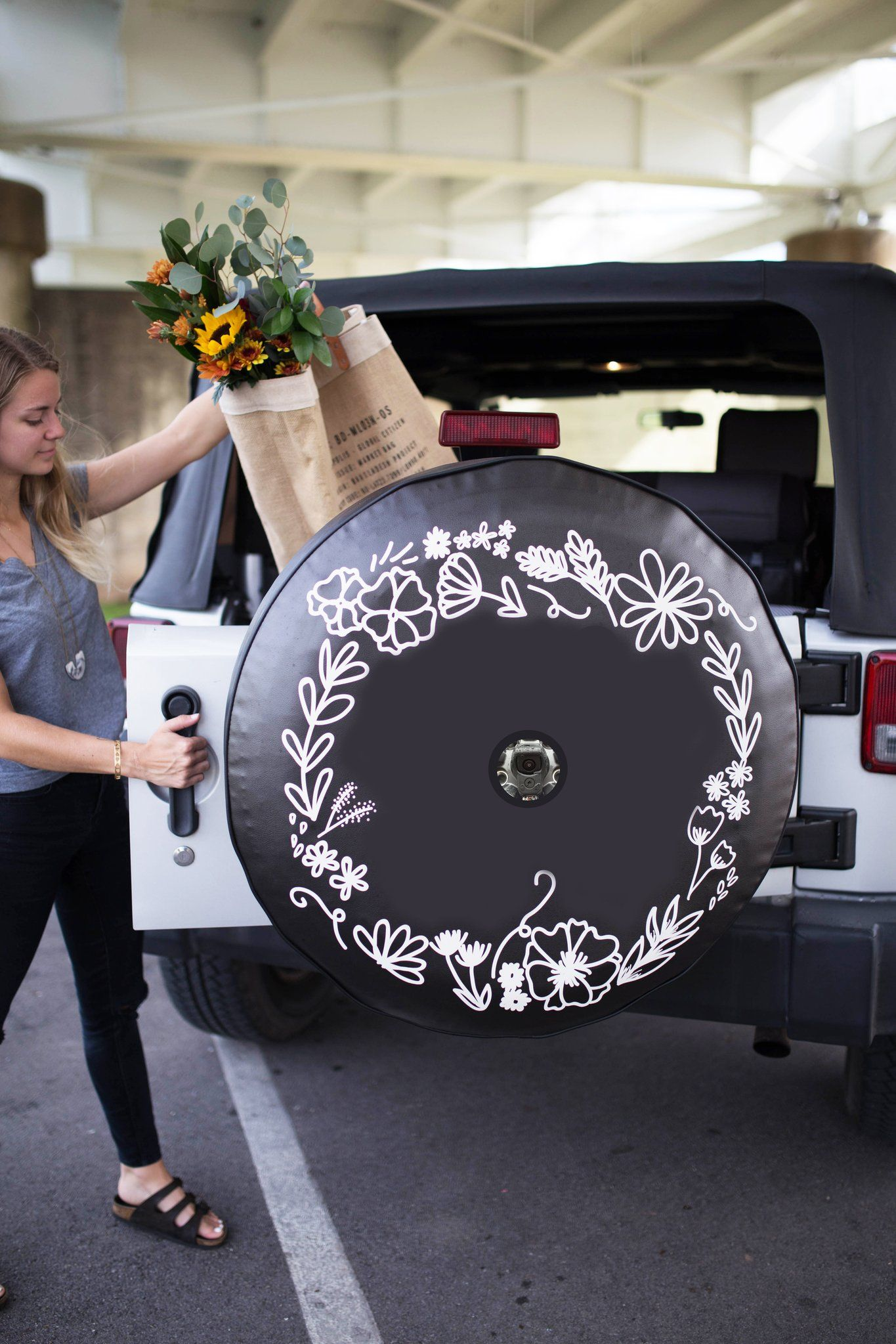Jl Backup Camera Floral Wreath Jeep Tire Cover Tire Cover