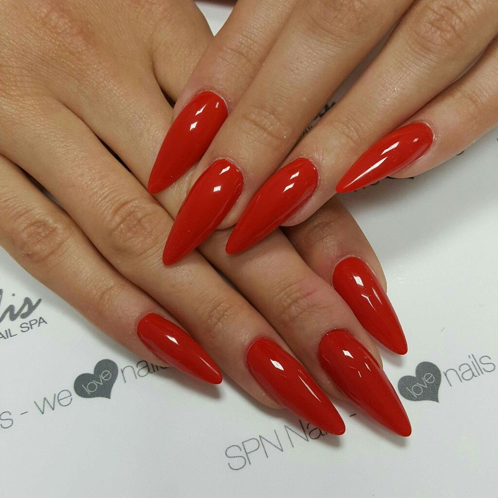 Red Stiletto Nails Red Stiletto Nails Almond Acrylic Nails Red Acrylic Nails