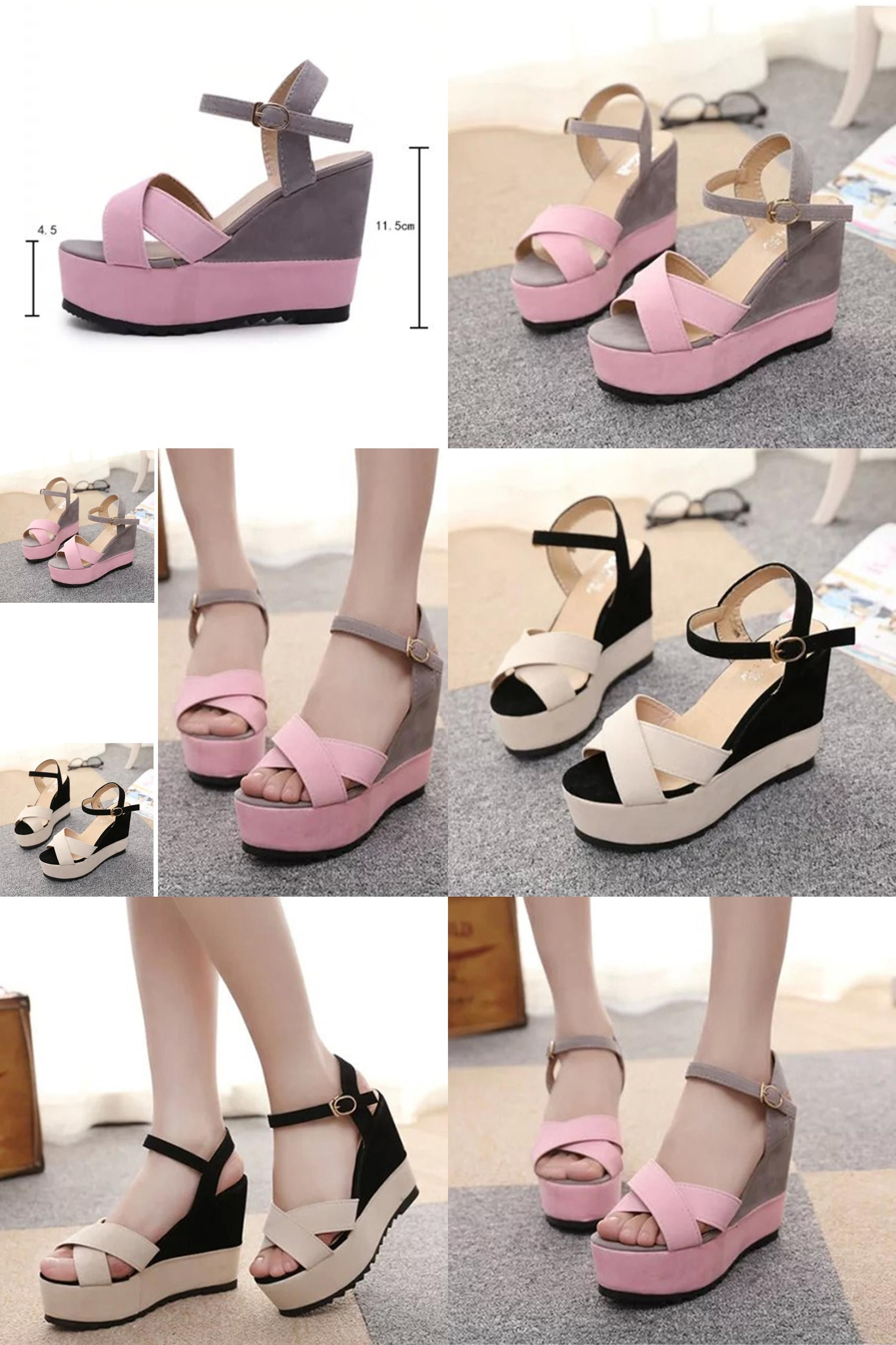 c8258bf3b8 [Visit to Buy] Sexy Open toe Patch Color Wedges Gladiator Sandals Women  High Heels Platform Sandals Summer Women's platform wedge Shoes Woman  #Advertisement