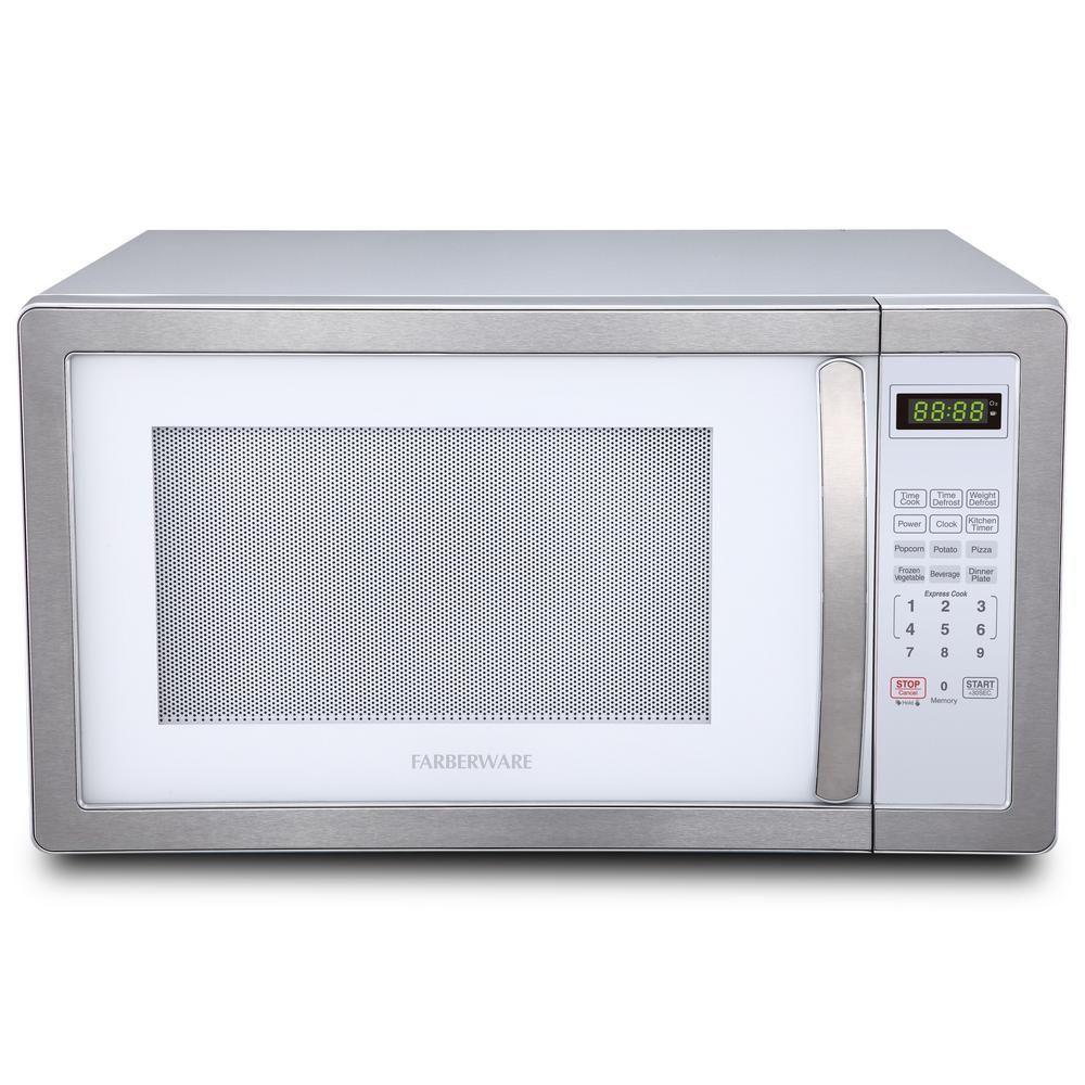 Farberware Classic 1 1 Cu Ft 1000 Watt Countertop Microwave Oven White And Platinum White Platinum Countertop Microwave Oven Microwave Oven Microwave