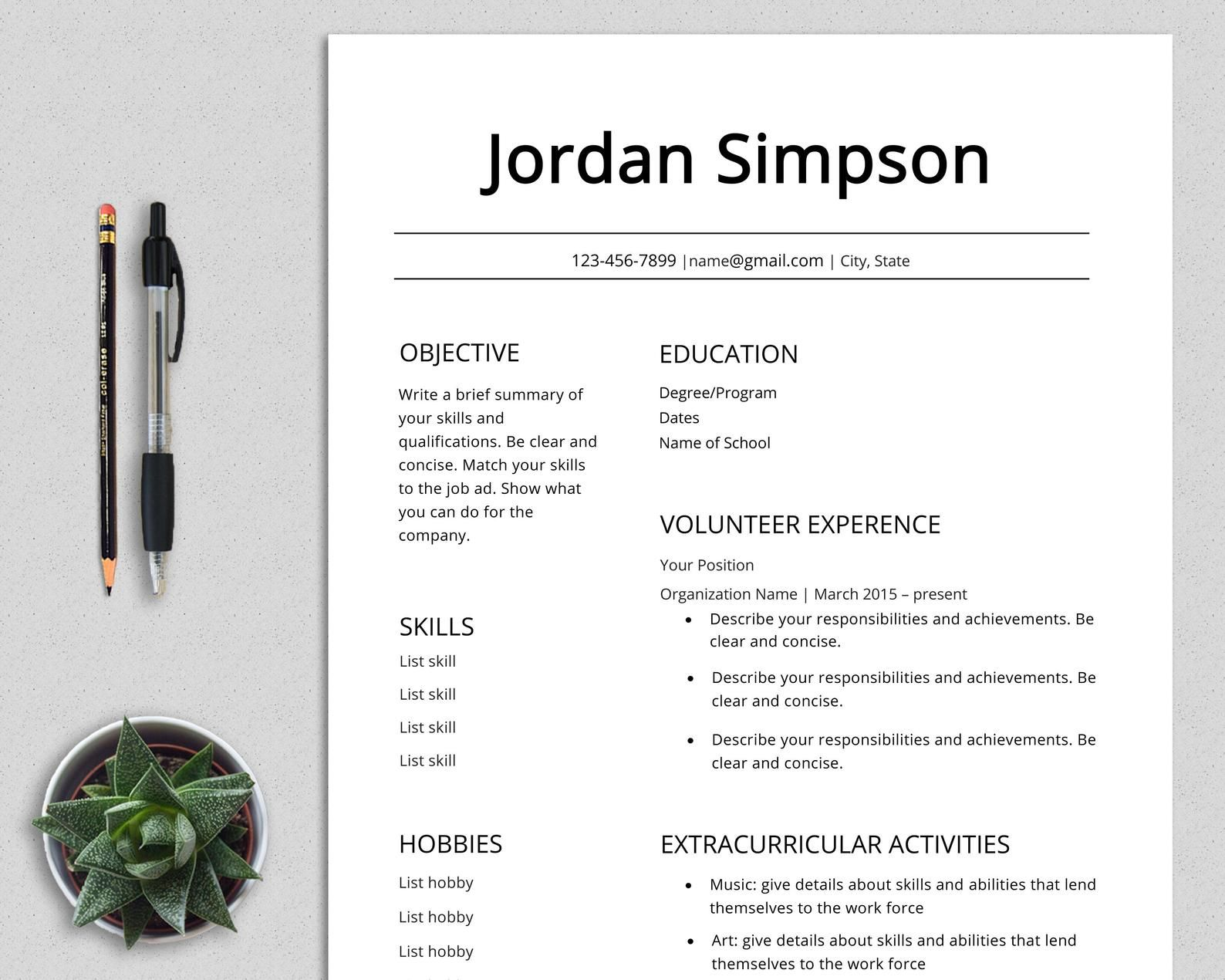 First CV Template resume teenagers no experience high