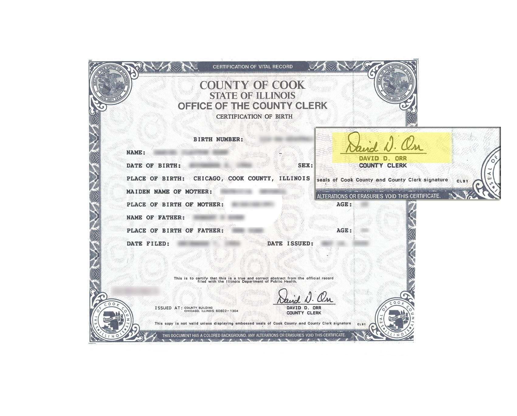 County Of Cook State Of Illinois Birth Certificate Signed By