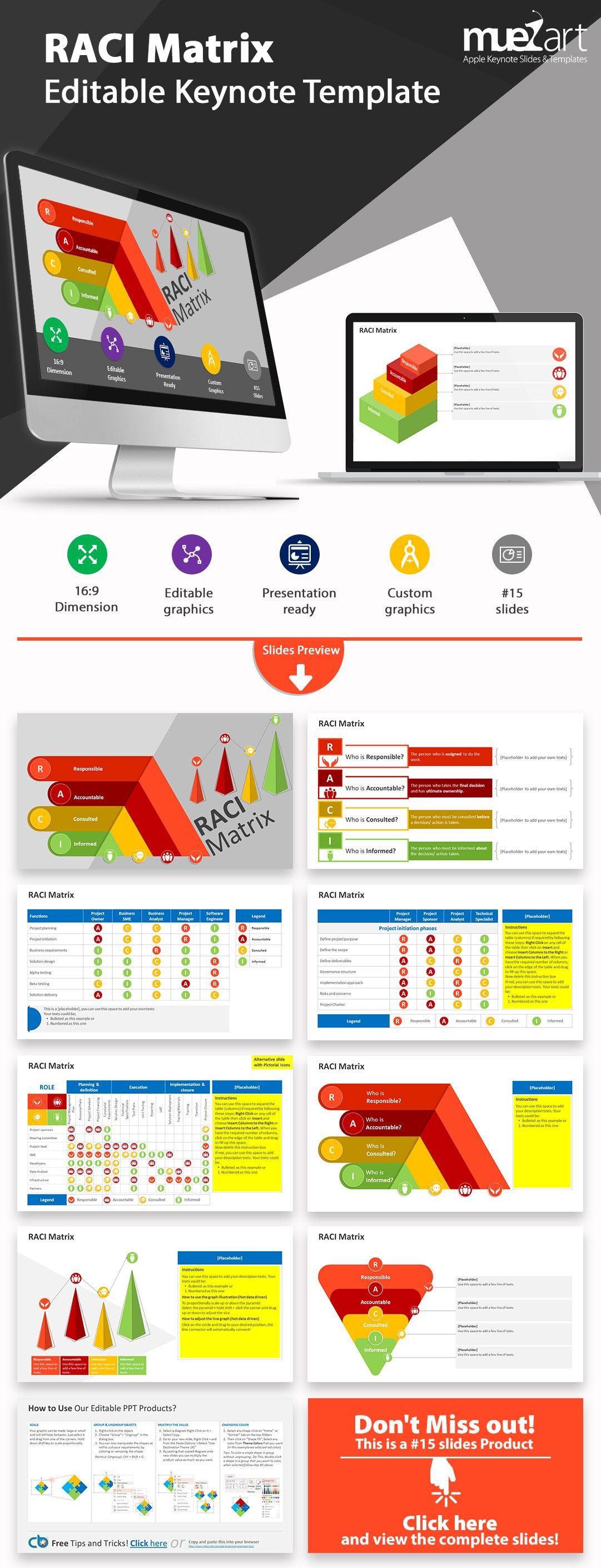 Raci Matrix Model Editable Keynote Template Pmp Pinterest
