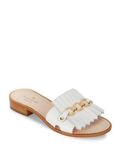 Kate Spade New York Brie Kilt Leather Slip-On Sandals Women s White ... 2d77bae61e