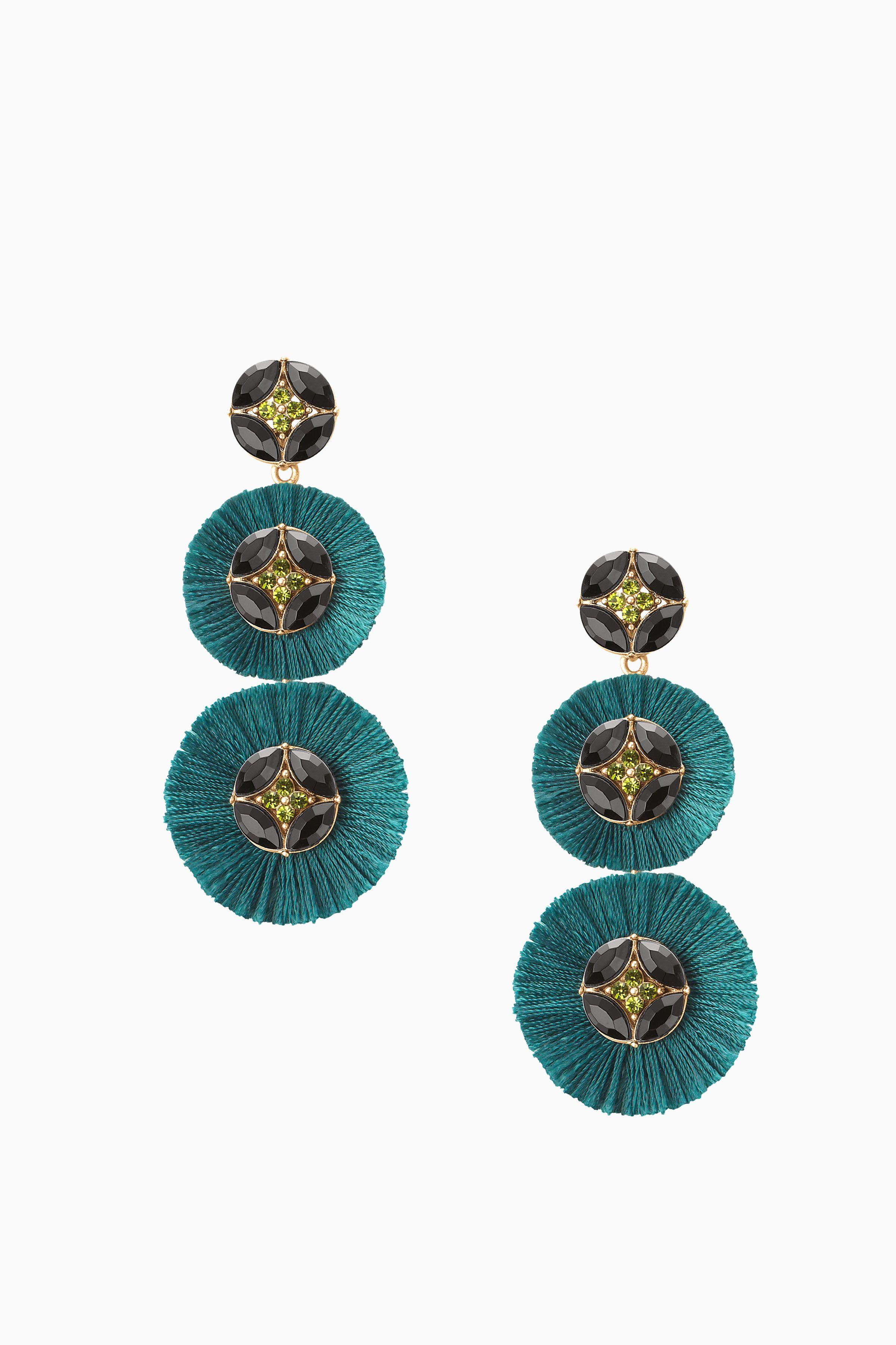 Green Fan Fringe Chandelier Earrings Stella Dot