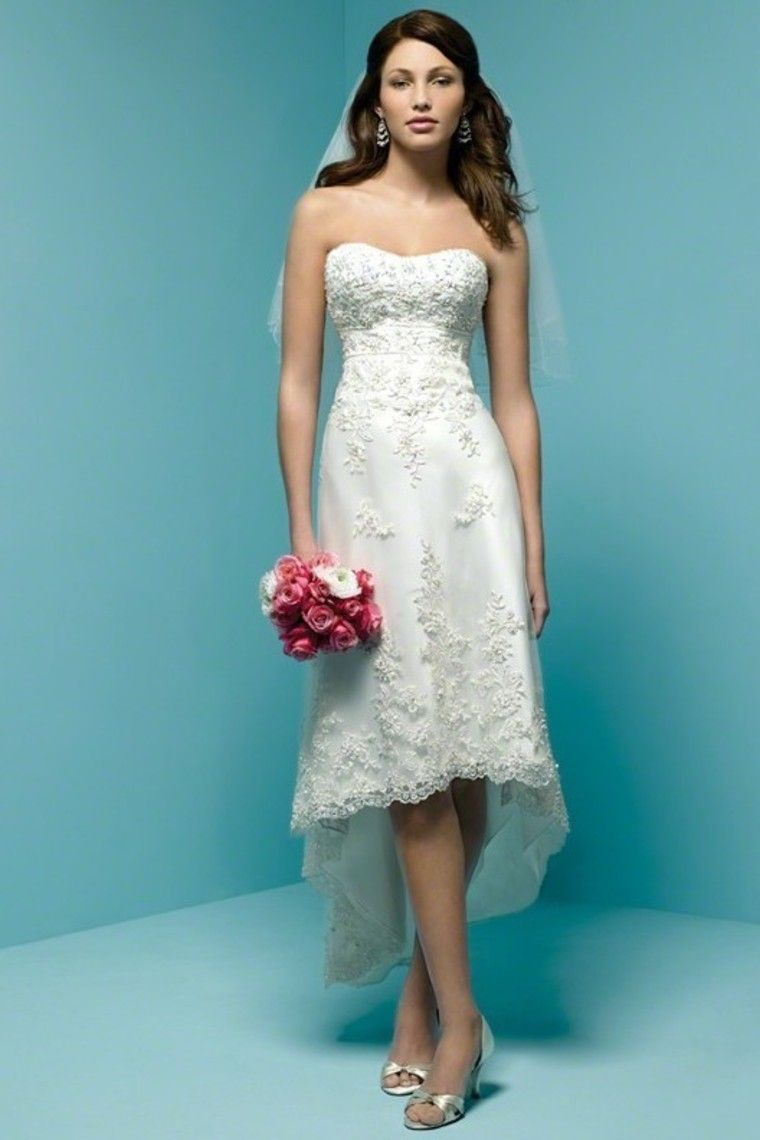 Enchanting A Line Strapless Asymmetrical Knee Length Lace Wedding ...