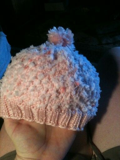 Hat for babies, super fuzzy on the inside!! My own pattern so no sharey, just admire the cuteness and warmth that my niece how gets to wear!! :)