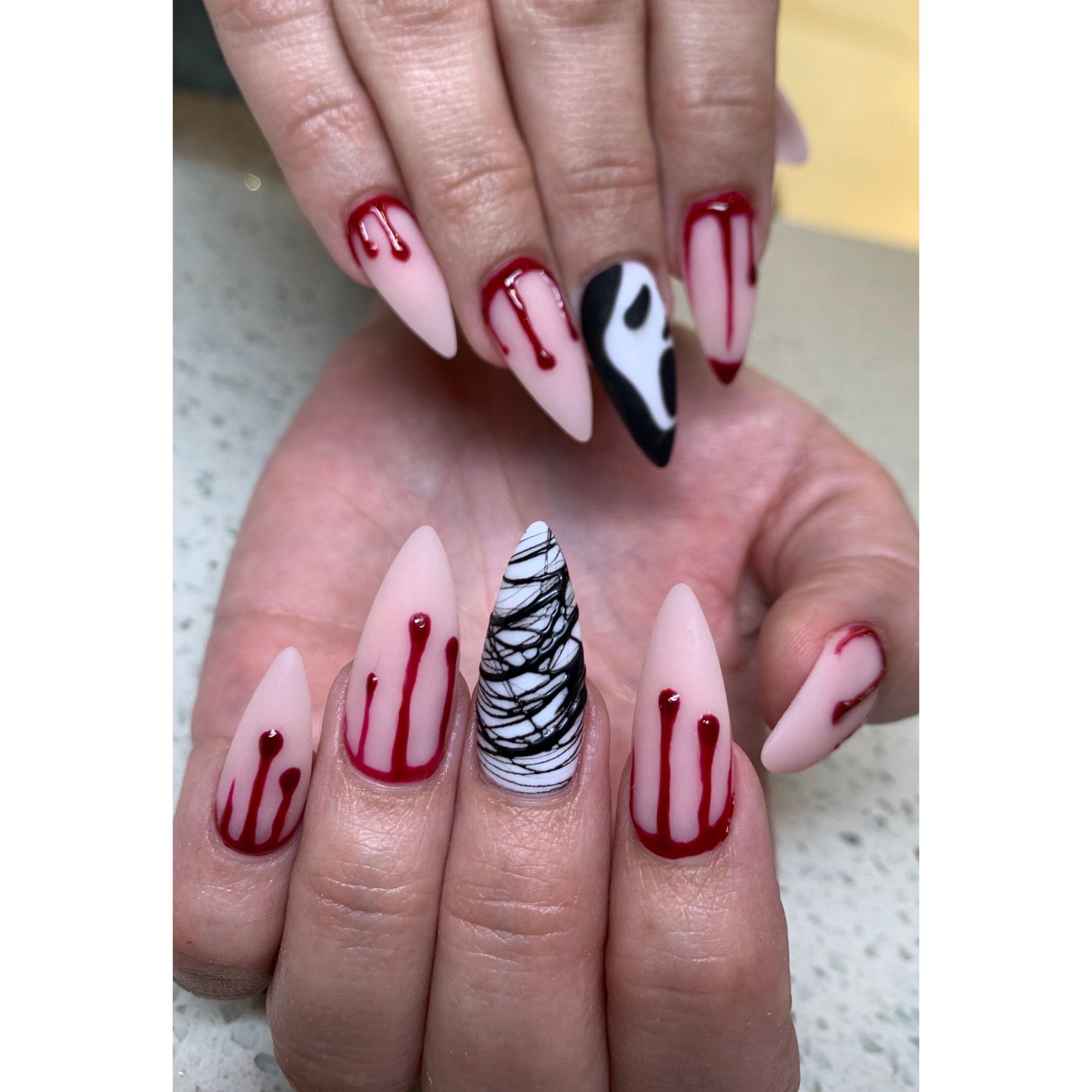 Halloween Nsils In 2020 Halloween Acrylic Nails Fall Acrylic Nails Horror Nails