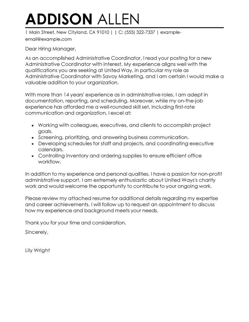Administrative Coordinator Cover Letter Examples | Administration U0026 Office  Support Cover Letter Samples | LiveCareer  Non Profit Cover Letter Sample