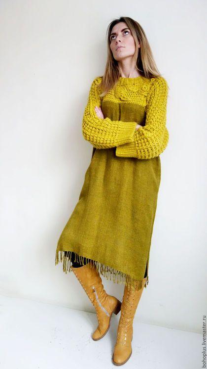 00c3e47e575 Купить или заказать Платье-туника  Горчица и мед  в интернет-магазине на