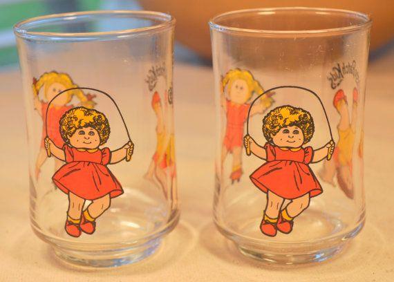Vintage 1984 Cabbage Patch Kids Juice Glasses Set Of 2 Etsy Kids Juice Retro Glassware Cabbage Patch Kids