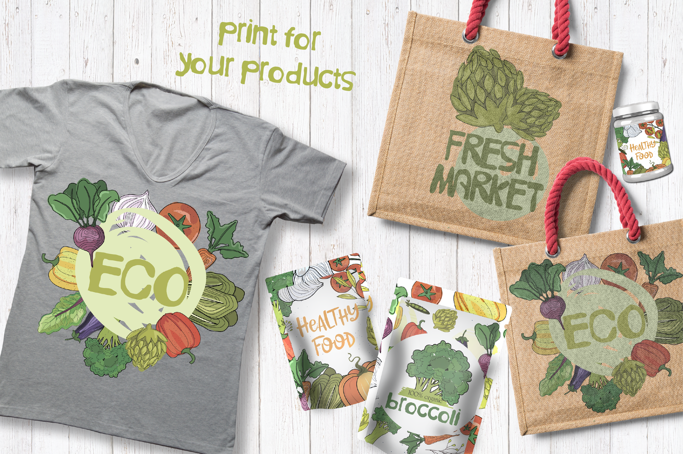 Vegetables set. Organic food By Mio Buono TheHungryJPEG