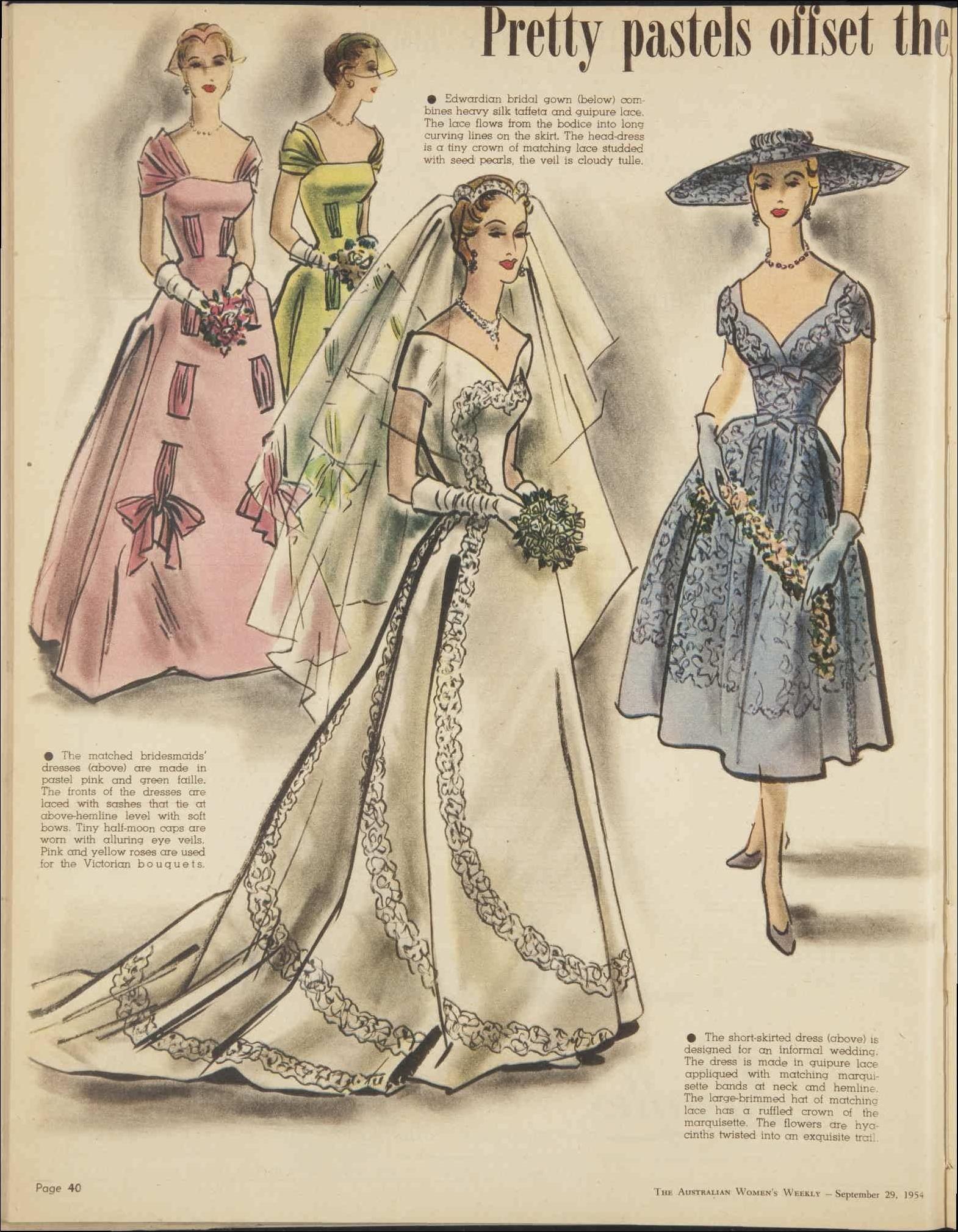 1950s vintage bride wedding dress, Issue: 29 Sep 1954 - The ...