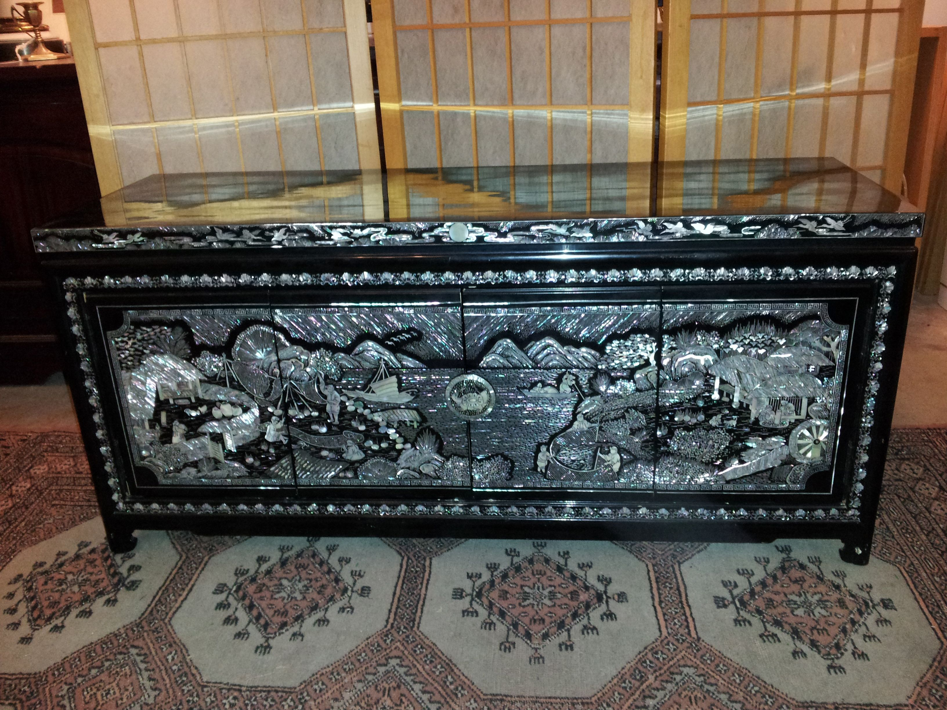 Korean Mother Of Pearl Inlaid Nightchest